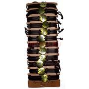 Браслет кожаный «знаки зодиака» бронза круглые 12 шт/уп