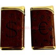 Зажигалка газовая под кожу «доллары, евро, узоры»