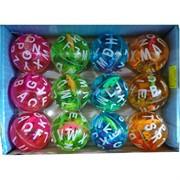 Мячик светящийся с водой 55 мм «буквы» 12 шт/уп