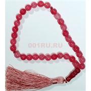 Четки из прессованного камня (агат красно-розовый) 10 мм