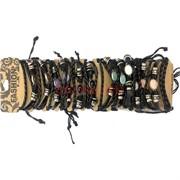 Черные браслеты под кожу (МУ-37) с разноцветными камнями 12 шт,уп