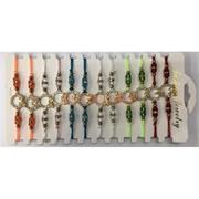 Браслеты из цветных нитей «Знаки зодиака» 12 шт/уп с фурнитурой