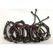 Черные браслеты (J-85) под кожу с фурнитурой 12 шт/уп