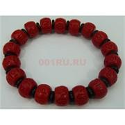 Красно-черный браслет 14 мм с мантрами