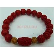 Красный браслет с желтыми камнями 12 мм