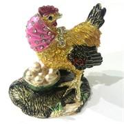 Шкатулка со стразами (4531) «Курица»