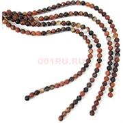 Бусины агат круглые коричневые 10 мм для рукоделия на нитке 40 см