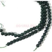 Бусины агат граненые зеленые 12 мм для рукоделия на нитке 40 см