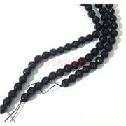 Бусины агат граненые черные 12 мм для рукоделия на нитке 40 см