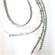 Бусины кахолонг круглые белые 6 мм для рукоделия на нитке 40 см