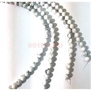 Бусины кахолонг круглые белые 10 мм для рукоделия на нитке 40 см