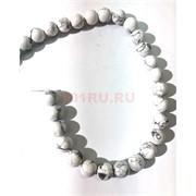 Бусины кахолонг круглые белые 12 мм для рукоделия на нитке 40 см