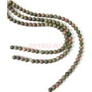 Бусины из унакита круглые 10 мм для рукоделия на нитке 40 см