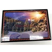 Деревянная подарочная шкатулка (MS-185) «Закат в зимнем лесу»