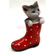 Котик из керамики (K19) в сапоге