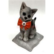 Кошка из керамики (K14) с бантиком 2 цвета