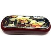 Футляр для очков (MS-210) кожаный «Лилии»
