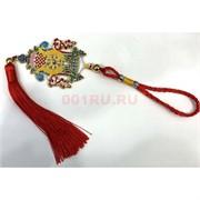 Амулет металлический буддийский с красными нитками с рисунками