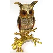 Шкатулка со стразами под золото «Сова» 13 см