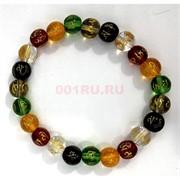 Разноцветный браслет с мантрами (бусина 12 мм)
