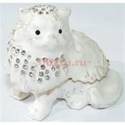 Металлическая белая шкатулка (4944) «Кошка» со стразами