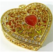 Металлическая шкатулка (4887) «Сердце» со стразами