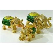Металлическая шкатулка (4490) набор из 3 слонов со стразами