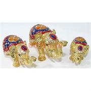 Металлическая шкатулка (4492) набор из 3 слонов со стразами