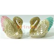 Металлическая шкатулка (856) «Лебеди» со стразами