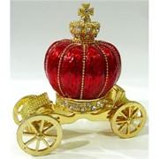 Металлическая шкатулка (5259) «Карета-корона» со стразами