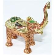 Металлическая шкатулка (2591) «Слон» со стразами
