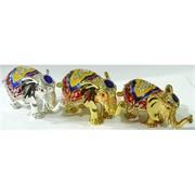 Металлическая шкатулка (005) набор из 3 слонов со стразами