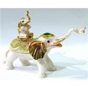 Металлическая шкатулка (3045) «Слон и слоненок» со стразами
