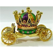 Металлическая шкатулка (256) «Корона-карета» со стразами