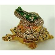 Шкатулка со стразами лягушка на черепахе