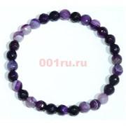 Браслет из агата темно-фиолетовый граненый 6 мм