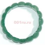 Браслет из зеленого нефрита прямоугольный округлый