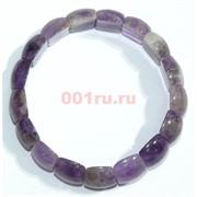 Браслет из фиолетового аметиста прямоугольный округлый