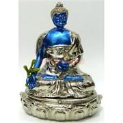 Металлическая шкатулка «Будда медицины» голубая