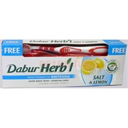 Зубная паста «Dabur Herb'l» соль и лимон 150 г с зубной щеткой