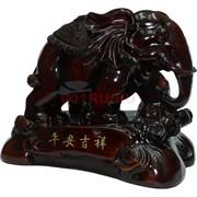Фигурка коричневая из полистоуна «Слон» на подставке 17 см
