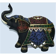 Фигурка коричневая из полистоуна черная «Слон с попоной» 28 см
