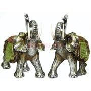 Фигурка из полистоуна серебристая «Слон» 22 см