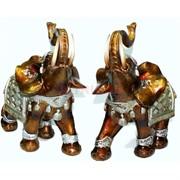 Фигурка из полистоуна светло-коричневая «Слон с клыками» 25 см