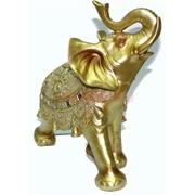 Фигурка из полистоуна золотистая «Слон» с клыками  25 см