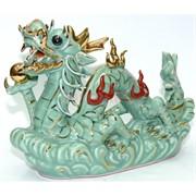 Фигурка фарфоровая 15 см «Дракон» зеленая
