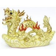 Фигурка фарфоровая 15 см «Дракон» желтая