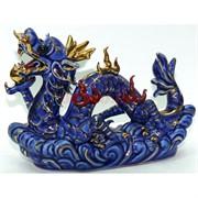 Фигурка фарфоровая 15 см «Дракон» синяя