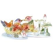 Композиция «Утки в пруду» 13 см из фарфора