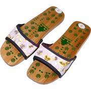 Тапочки массажные деревянные (размер 39) со вставками из нефрита